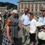Cecilia Nilsson, Leif Herlitz och Roger Lindekrantz samt barnbarn och barn