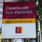 Östersunds nya stadsdel Norr FFABskylt i hörnet E 14 – Fältjägargränd. Foto: 2006-09-24