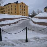 Ny gångväg in till stadsdel Norr från korsningen E 14 – Fältjägargränd. Foto: 2008-02-16